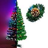 Künstlicher Glasfaser Weihnachtsbaum 150 cm mit LED Beleuchtung und echten vergoldete Zapfen Christbaum Tannenbaum