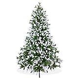 Künstlicher Weihnachtsbaum 210cm in Premium Spritzguss Qualität, angeschneite Nordmanntanne, Tannenbaum mit PE Kunststoff Nadeln, Nordmannstanne Christbaum im beschneit Design