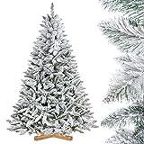 FairyTrees künstlicher Weihnachtsbaum FICHTE, Natur-Weiss mit Schneeflocken, Material PVC, inkl. Holzständer, 180cm, FT13-180