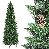 FairyTrees Weihnachtsbaum künstlich Slim, Kiefer Natur-Grün, Material PVC, echte Tannenzapfen, inkl. Metallständer, 220cm