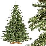 FairyTrees künstlicher Weihnachtsbaum BAYERISCHE Tanne Premium, Material Mix aus Spritzguss & PVC, inkl. Holzständer, 180cm