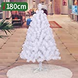 GAOYANZIChristmas Künstlicher Weihnachtsbaum Weihnachtsbaum mit festem Metall Beinen ideal für die Innen- und Außen Feiertags-Dekoration Hotels Shopping Mall Dekoration,Weiß,180cm