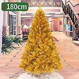 GAOYANZIChristmas Künstlicher Weihnachtsbaum (mit Metallrahmen) golden Weihnachtsbaum 2M, 1.5M, 1.8M geringem Gewicht, Weihnachten dekorativen Geschenke, Innen- und Außen,Gold,180CM
